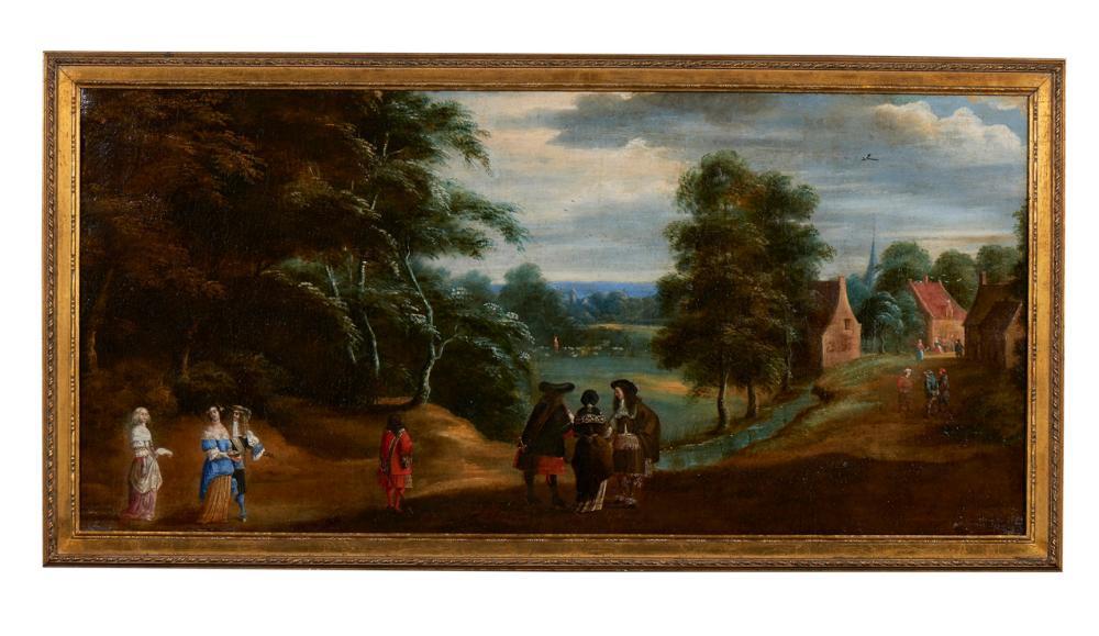 Of. europeia do séc. XVII, óleo s/tela,58x124,5 cm