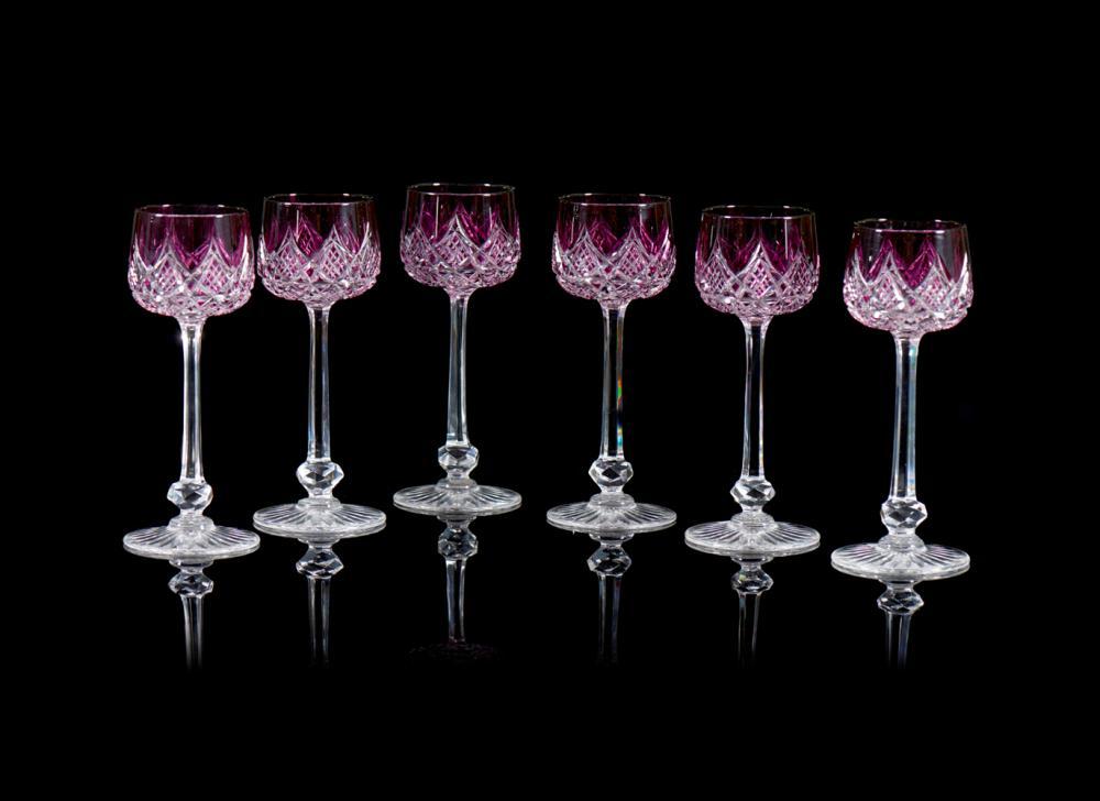 Conjunto de seis copos de pé alto em cristal (6)