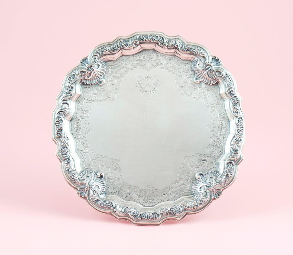 Salva em prata 833%, séc. XIX/XX,P.278g