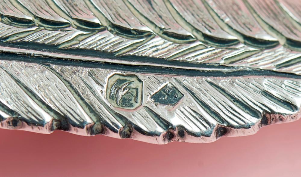 Faisão, escultura em prata, 833%, P: 610 g.