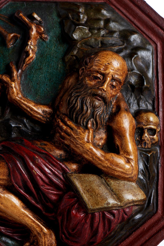 São Jerónimo, placa em barro moldado policromado