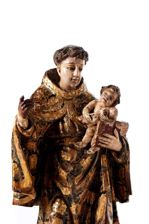 Stº Antº c/Menino Jesus, Esc. XVIII, em madeira