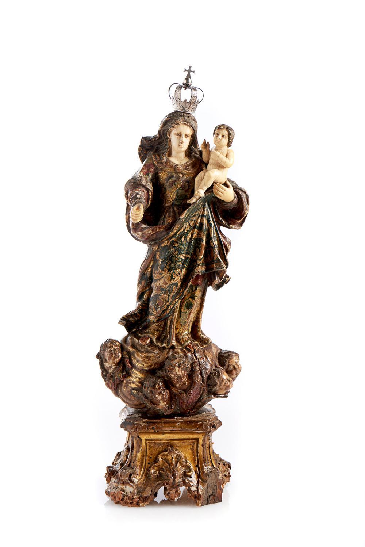 Nª Srª c/Menino Jesus, Esc. séc. XVIII, madeira
