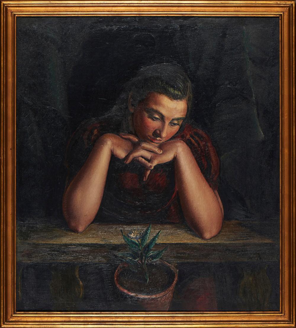 Atribuível a José AGUIAR, Óleo s/tela, 100 x 88 cm