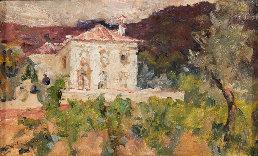 CARLOS REIS, Óleo sobre madeira, 16,7 x 27,5 cm.
