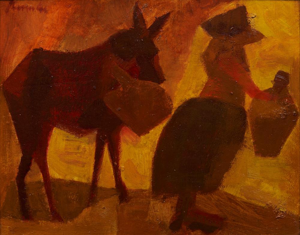 JÚLIO RESENDE, Óleo sobre cartão, 27 x 34 cm.