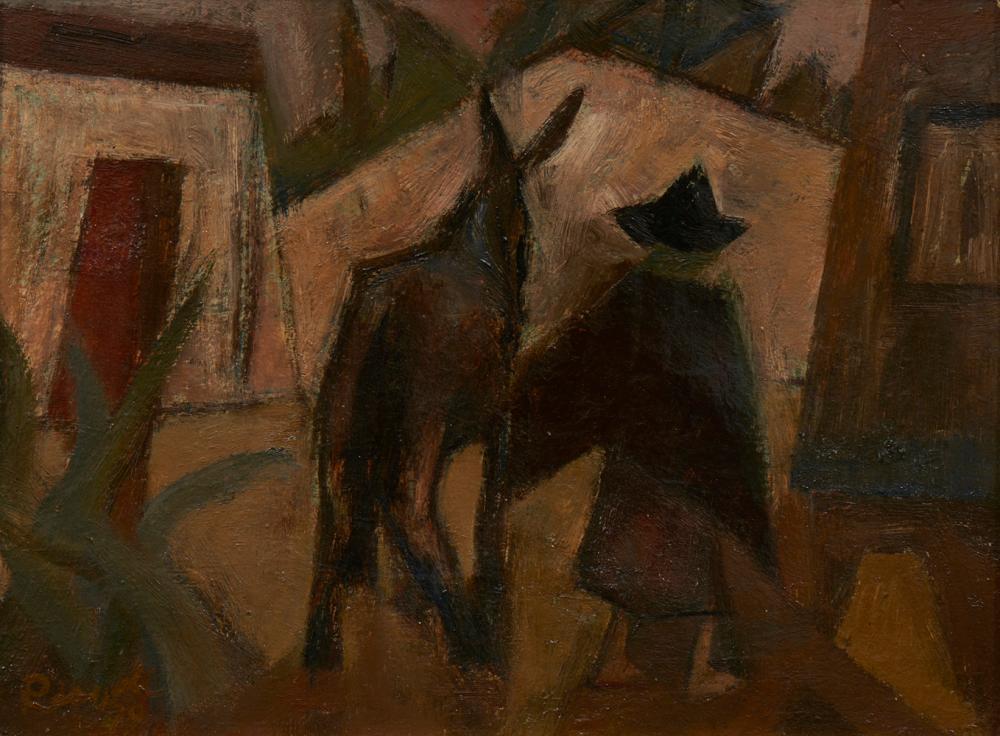 JÚLIO RESENDE, Óleo s/cartão, 26 x 34 cm.
