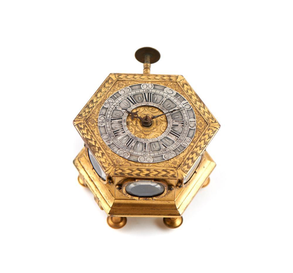 Relógio alemão em bronze e prata, séc. XVII