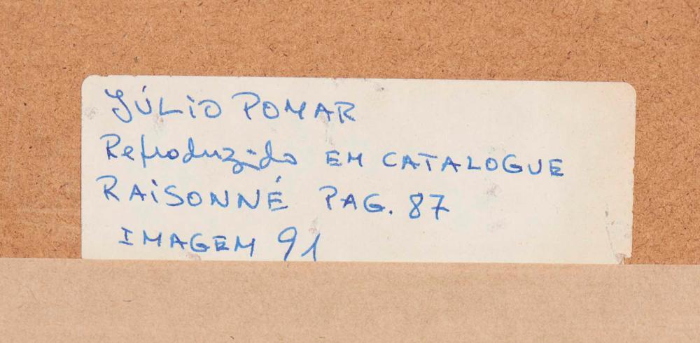JÚLIO POMAR, mista sobre papel, 49,5 x 64,5 cm.