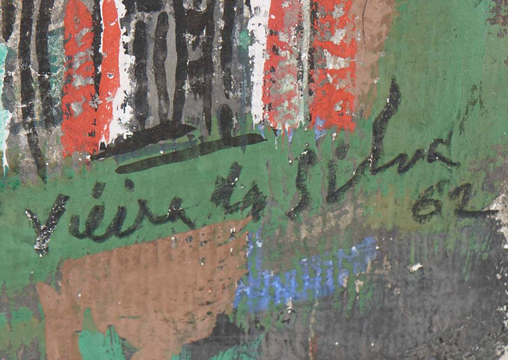 VIEIRA DA SILVA, Têmpera s/ papel, 67 x 33,5 cm