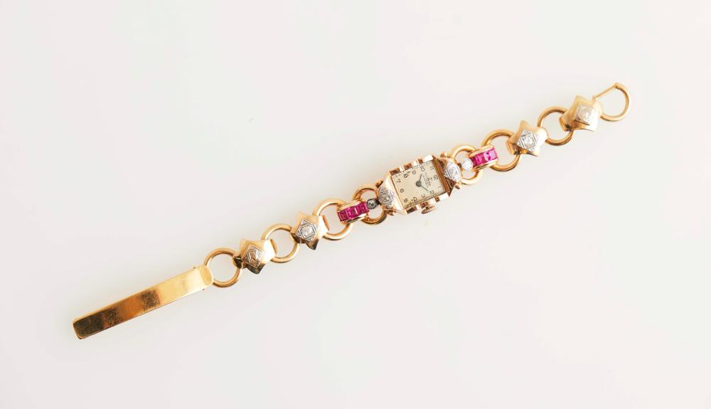 Relógio de pulso senhora ouro diamantes, P.34.44g