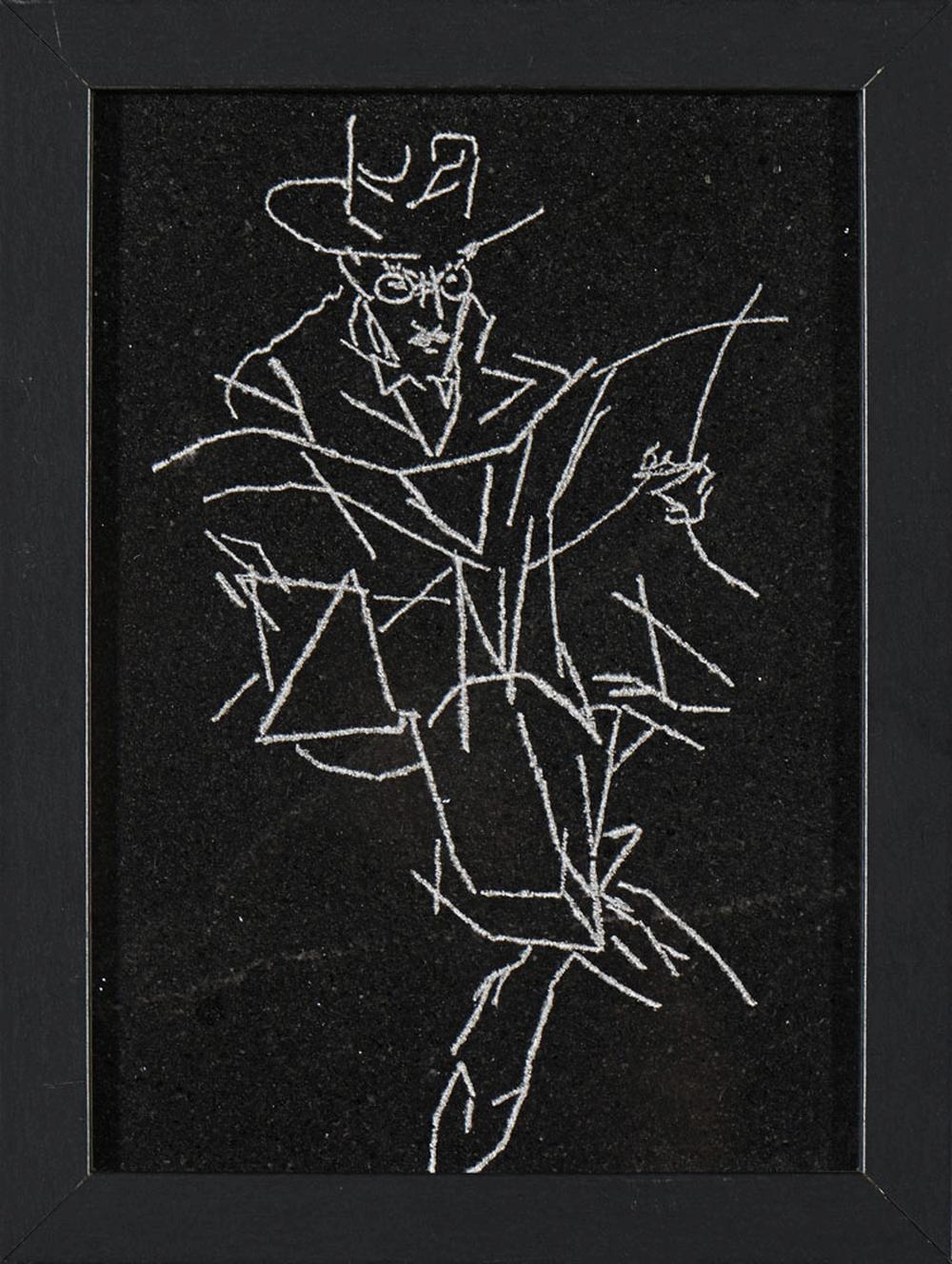 Placa em mármore em tons negro c/ Fernando Pessoa