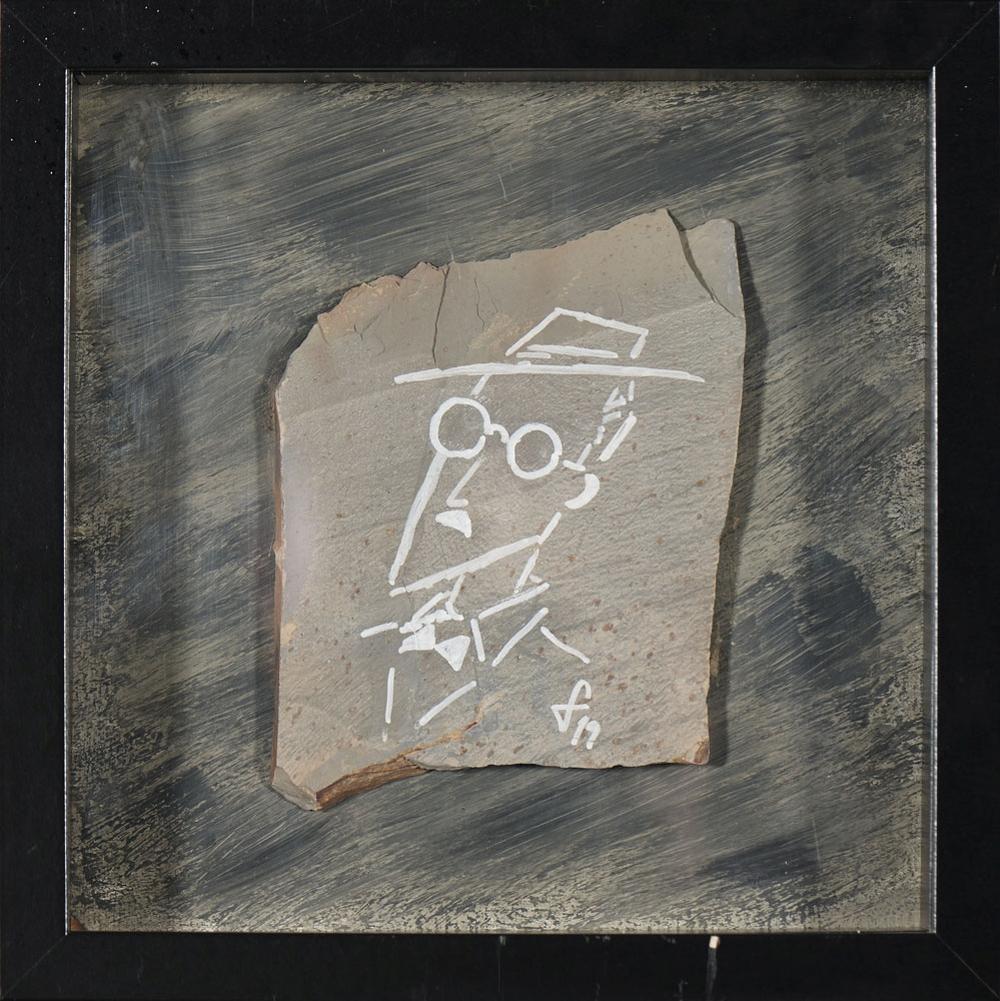 Autor ñ identificado, tinta s/ pedra, 25,5 x 25,5