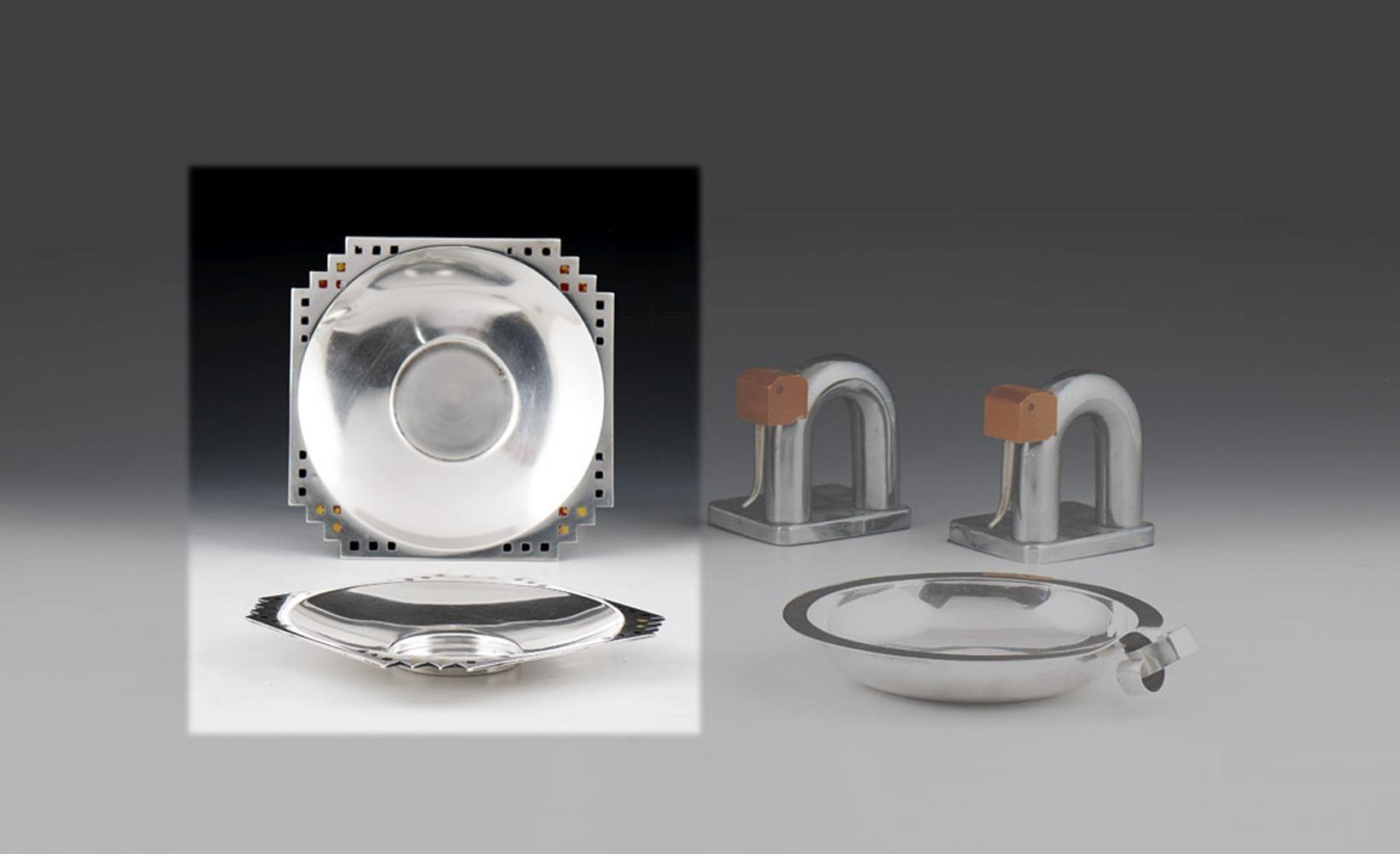"""Par de taças """"Art Deco"""" em prata 833%, P.616 g."""