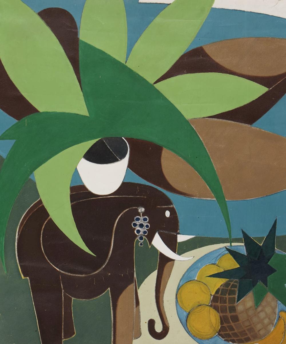 Elefante e frutos, óleo s/ tela, 89 x 74,5