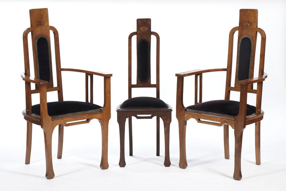 Par de cadeirões de braços e uma cadeira, Art Deco