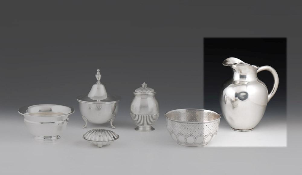 Jarro para água em prata portuguesa, 916%,P: 770g