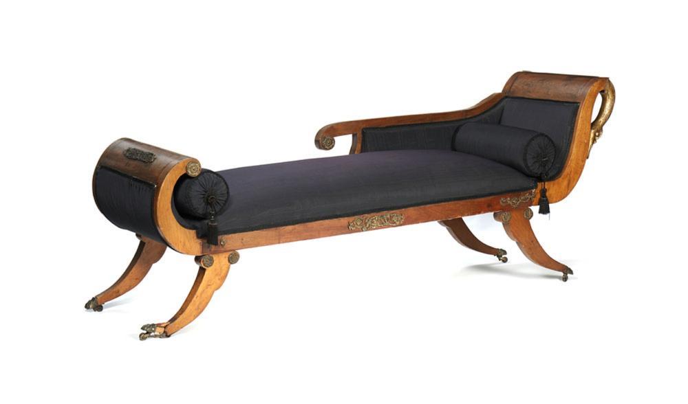 """""""Chaise-longue"""" estilo Império em mogno"""