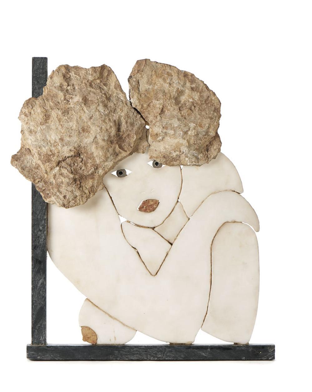 Cutileiro Escultura em mármore, representando bus
