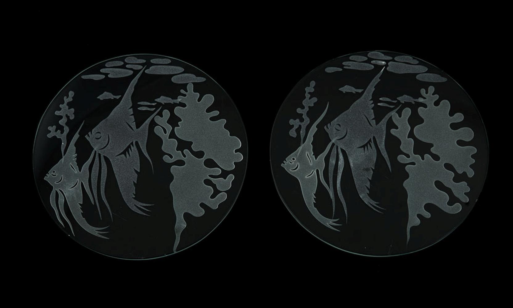 Conj. de 2 placas circulares em vidro