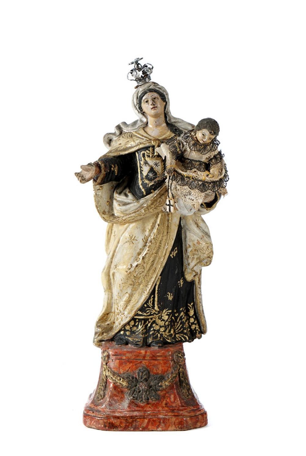 Nª Sra. c/ Menino Jesus, c/ coroa em prata,P.: 4 g
