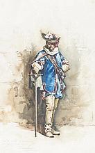 Casanova, Cavaleiro, aguarela s/papel,45 x 28,2 cm