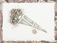 BENES, mista com colagens sobre papel, 46 x 60 cm.
