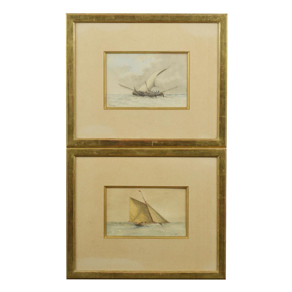Autor ñ identificado, Duas aguarelas, 14 x 23 cm.
