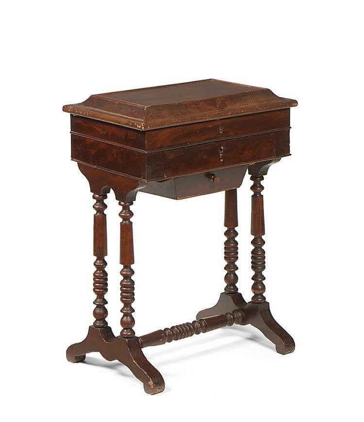 Mesa de costura folheada a mogno e outras madeiras - Mesas para costura ...