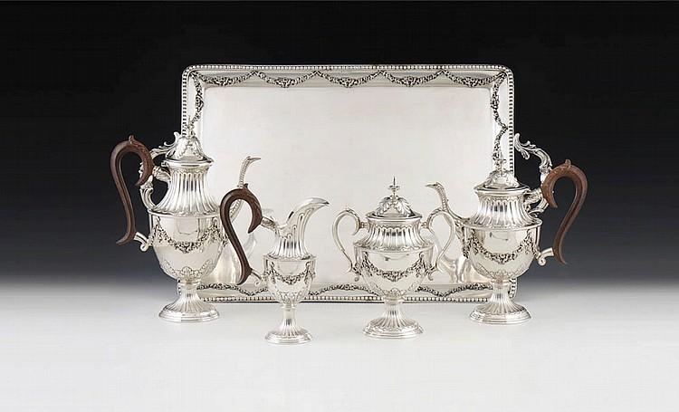 Serviço de chá e café em prata, 833%, P.7930g. (5)