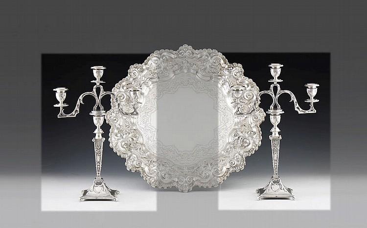 Par de candelabros em prata, 833%, P.1924 g. (2)