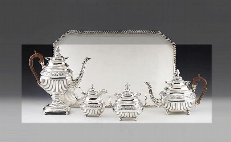 Serviço de chá e café em prata, séc. XIX, P. 3400g