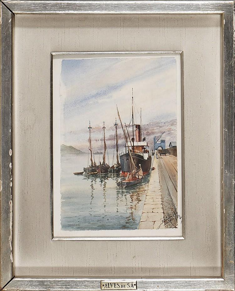 ALVES DE SÁ, Aguarela s/papel, 26,5 x 18,5 cm.