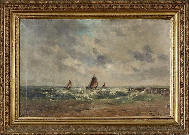 VAN CUYCK, Marinha, Óleo sobre tela, 63 x 100 cm.