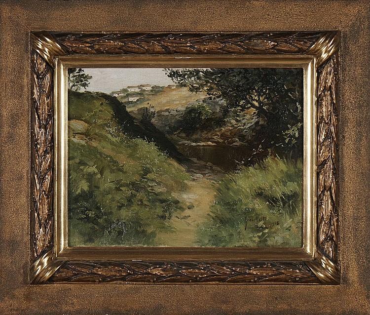 JOSÉ LEITE, Óleo sobre cartão, 27 x 35 cm.