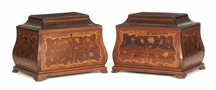 Par de caixas em diversas madeiras