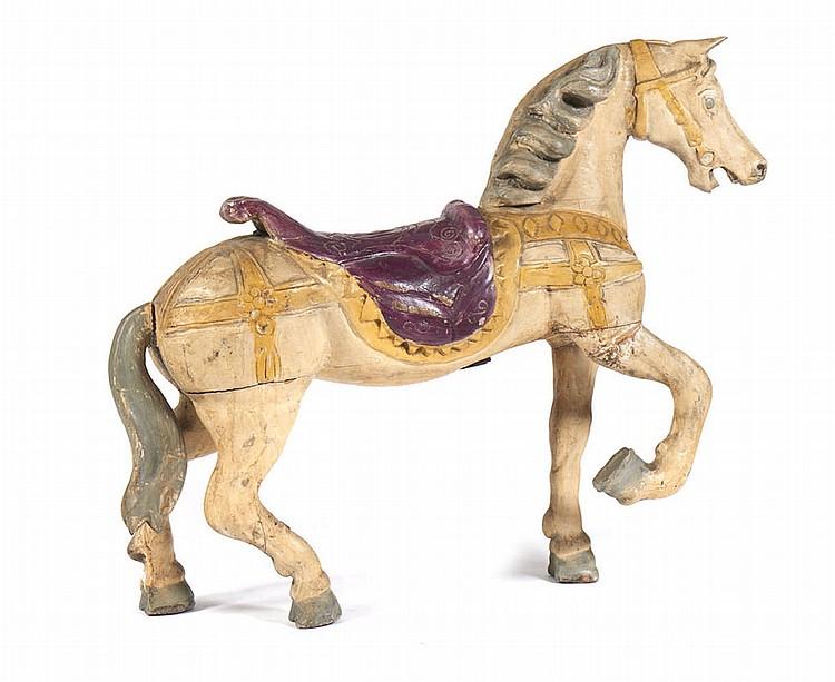 Cavalo de carrossel, escultura em madeira polic.