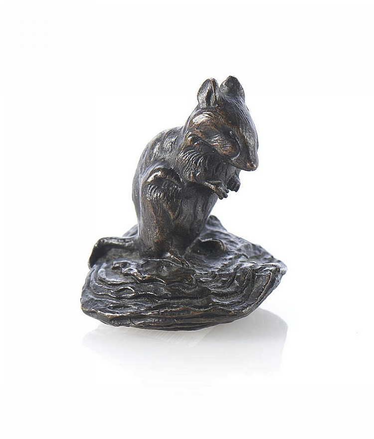Rato, escultura em bronze