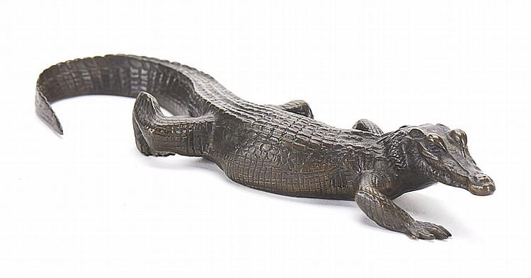 BARYE, Crocodilo, escultura em bronze