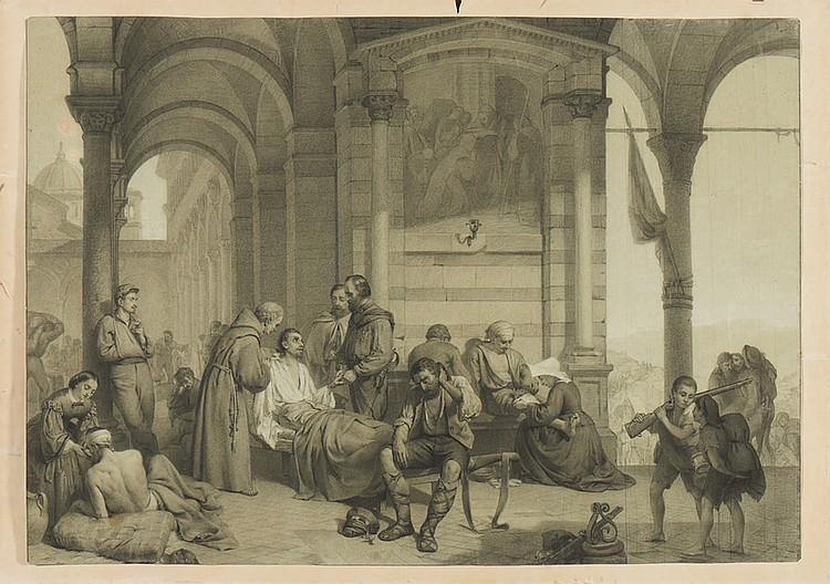 Giuseppe Garibaldi visitando..., Desenho s/papel