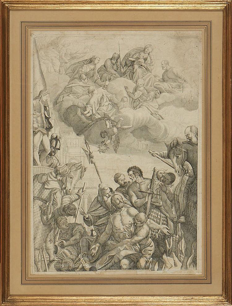 Gravura de 1554 . «No fim da Batalha». Emoldurada.