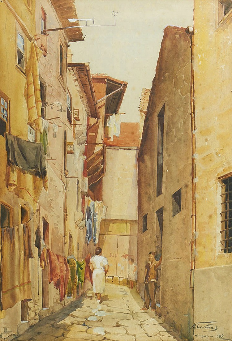 Manuel Tavares, aguarela s/ papel, 53,5 x 36,2 cm.