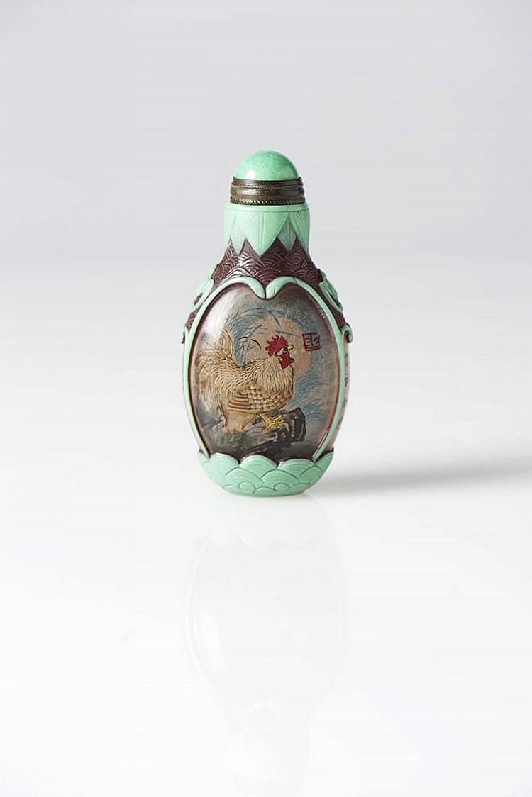 Snuff bottle em vidro e pasta de vidro