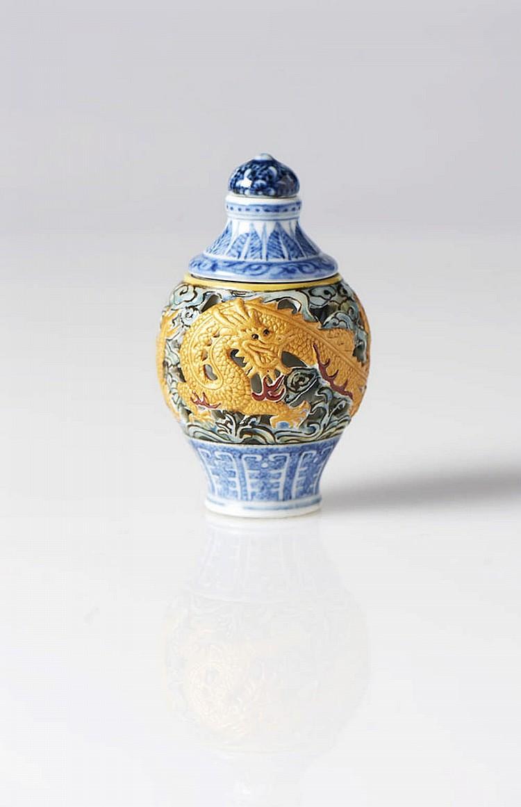 Snuff bottle em porcelana chinesa