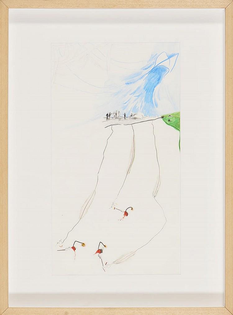 JORGE QUEIROZ, téc. mista s/papel, 43 x 22 cm.