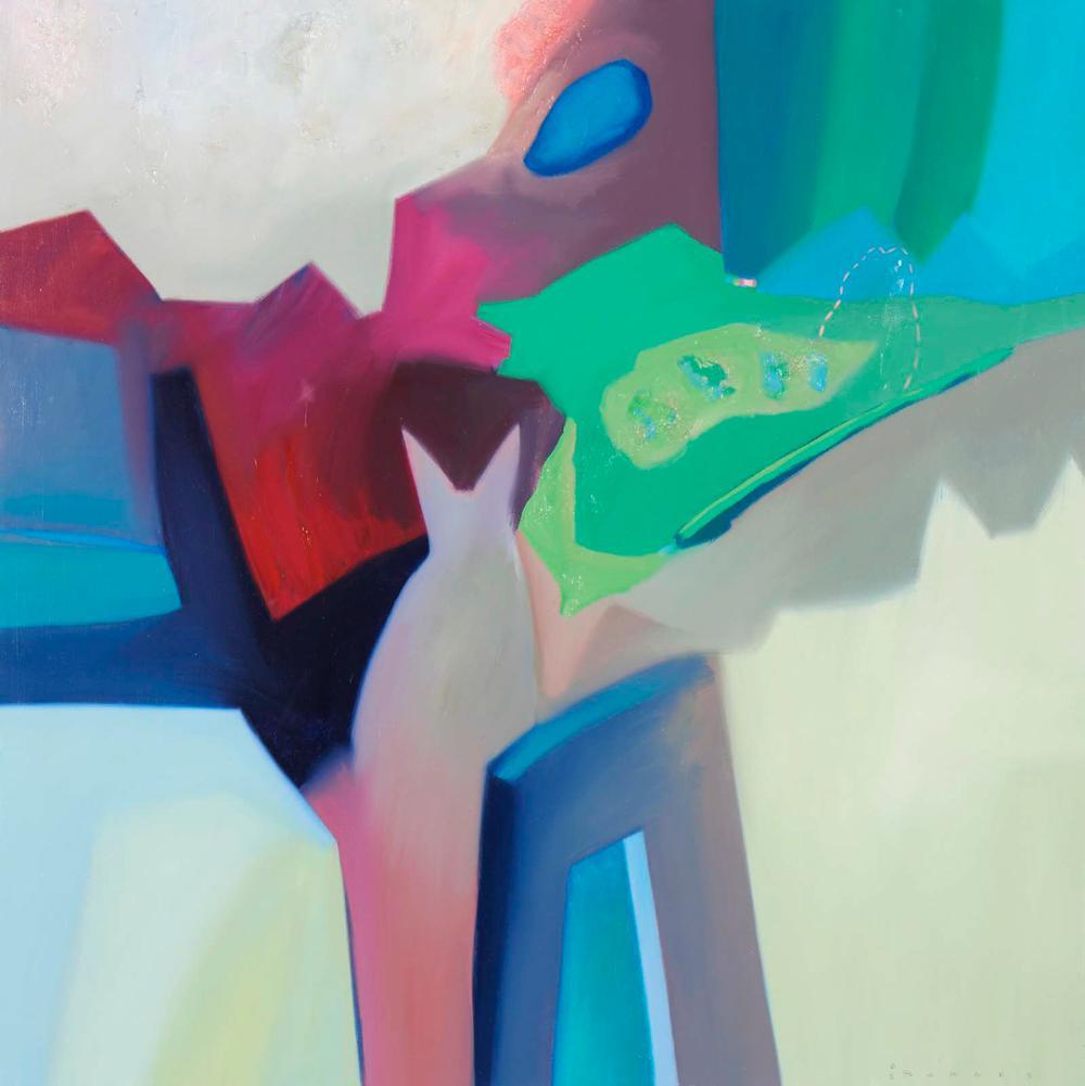JOÃO BORGES, Oléo sobre tela, D.130x130cm.