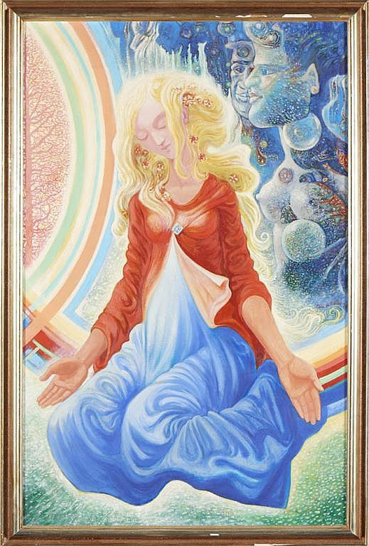Lima de Freitas, Senhora do Ó, óleo, 110,5x68,5 cm