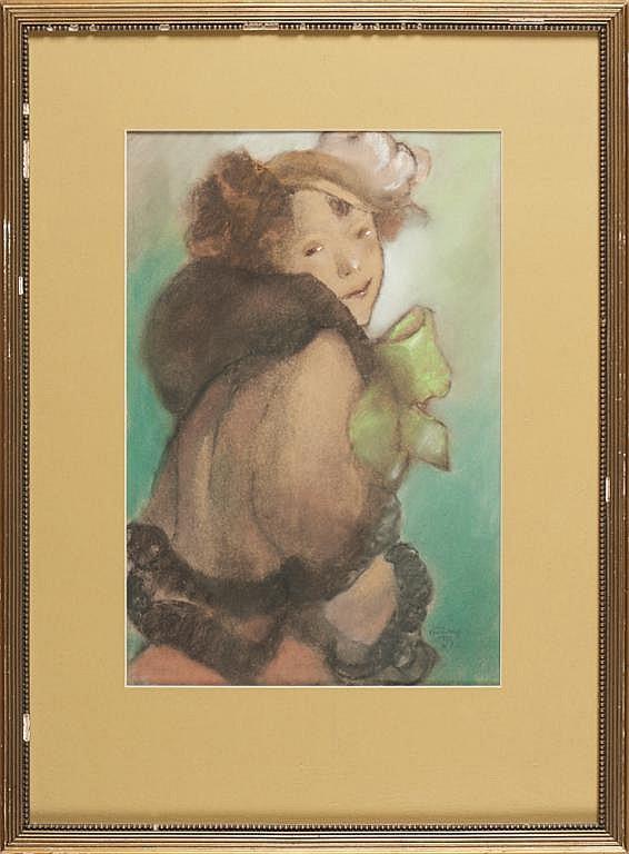 Jorge Barradas, Fig.feminina, pastel, 44 x 33 cm.