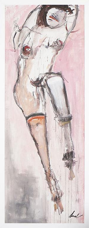 Bual, Nú feminino, óleo s/aglomerado, 177,5x64,5cm
