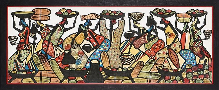 PENENGE AKEMBA, Acrílico sobre tela, 57 x 153 cm.